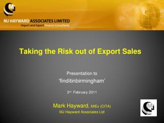 Taking the Risk out of Export Sales