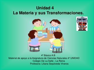 Unidad 4  La Materia y sus Transformaciones .