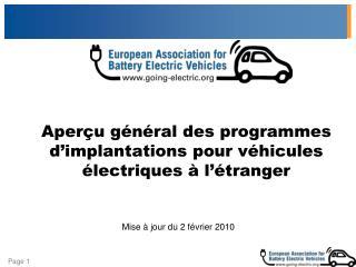 Aperçu général des programmes d'implantations pour véhicules électriques à l'étranger