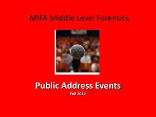 Public Address Events Fall 2012