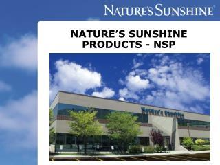 NATURE'S SUNSHINE PRODUCTS - NSP