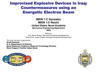 Improvised Explosive Devices in Iraq: Countermeasures using an  Energetic Electron Beam
