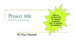 Project title (make sure to include your logo)