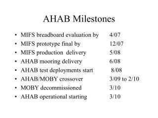 AHAB Milestones