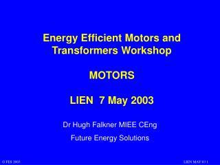 Energy Efficient Motors and Transformers Workshop MOTORS LIEN  7 May 2003