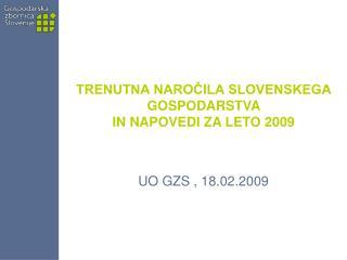 TRENUTNA NAROČILA SLOVENSKEGA GOSPODARSTVA  IN NAPOVEDI ZA LETO 2009