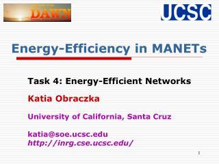 Energy-Efficiency in MANETs
