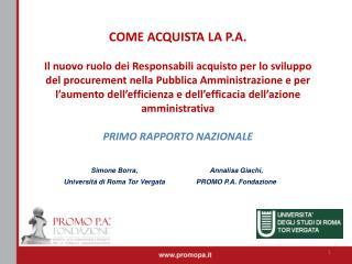 Annalisa Giachi, PROMO P.A. Fondazione