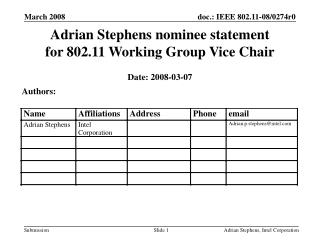 Adrian Stephens nominee statement for 802.11 Working Group Vice Chair