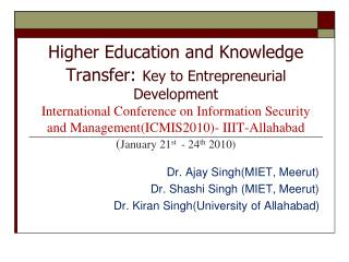Dr. Ajay Singh (MIET, Meerut) Dr. Shashi Singh  (MIET, Meerut)