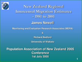 New Zealand Regional Intercensal Migration Estimates - 1981 to 2001