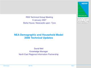 NEA Demographic and Household Model 2006 Technical Updates