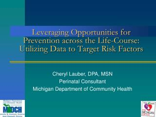 Cheryl Lauber, DPA, MSN Perinatal Consultant Michigan Department of Community Health