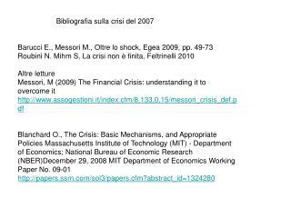 Bibliografia sulla crisi del 2007