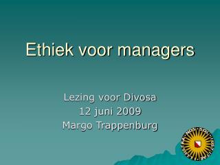 Ethiek voor managers