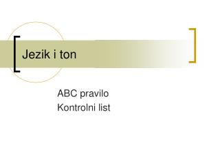 Jezik i ton