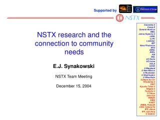 NSTX research and the connection to community needs