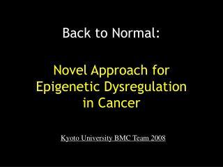 Novel Approach for Epigenetic Dysregulation  in Cancer