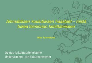 Ammatillisen koulutuksen haasteet – mistä tukea toiminnan kehittämiseen Mika Tammilehto