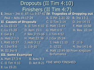 Dropouts (II Tim 4:10) Finishers (II Tim 4:7)