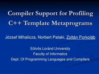 Compiler Support for Profiling  C++  Template Metaprograms
