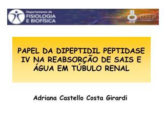 PAPEL DA DIPEPTIDIL PEPTIDASE IV NA REABSORÇÃO DE SAIS E ÁGUA EM TÚBULO RENAL