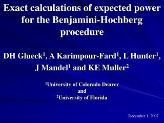 Exact calculations of expected power for the Benjamini-Hochberg procedure