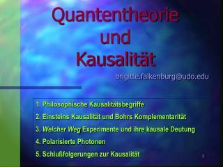Quantentheorie  und  Kausalit�t