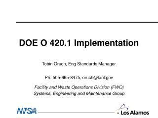 DOE O 420.1 Implementation