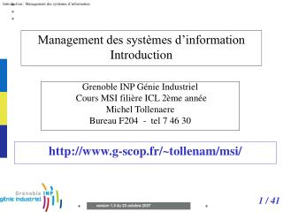 Management des syst mes d information Introduction