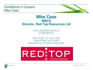 Confidence in Careers Mike Case