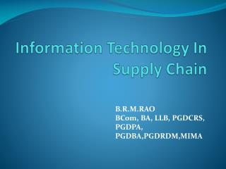 Information Technology In Supply Chain