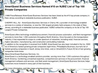 AmeriQuest Business Services Named #10 on NJBIZ List