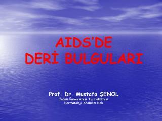 AIDS'DE  DERİ BULGULARI Prof. Dr. Mustafa ŞENOL İnönü Üniversitesi Tıp Fakültesi
