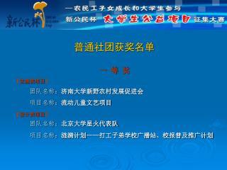 普通社团获奖名单 一 等 奖 【 实施类项目 】 团队名称: 济南大学新野农村发展促进会             项目名称: 流动儿童文艺项目 【 设计类项目 】 团队名称: 北京大学星火代表队