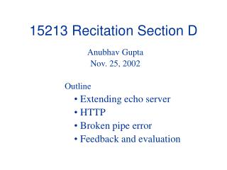 15213 Recitation Section D