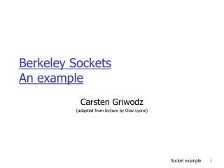 Berkeley Sockets  An example