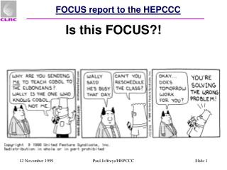 FOCUS report to the HEPCCC