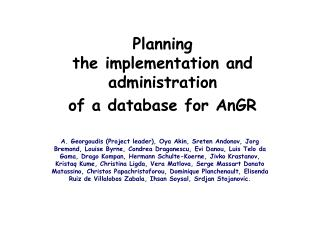 Planning the implementation and administration of a database for AnGR