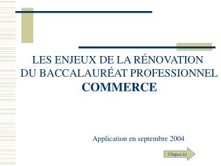 LES ENJEUX DE LA R � NOVATION  DU BACCALAUR � AT PROFESSIONNEL COMMERCE