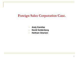 Foreign Sales Corporation Case.