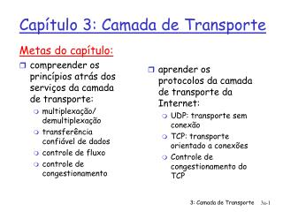 Capítulo 3: Camada de Transporte