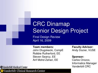 CRC Dinamap Senior Design Project Final Design Review April 16, 2009