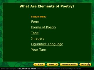 Form Forms of Poetry  Tone Imagery Figurative Language Your Turn