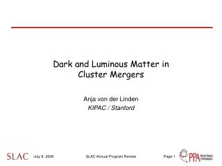 Dark and Luminous Matter in  Cluster Mergers