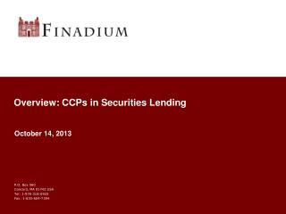 Overview: CCPs in Securities Lending