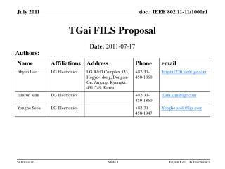TGai  FILS Proposal