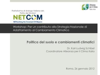 Workshop: Per un contributo alla Strategia Nazionale di Adattamento al Cambiamento Climatico