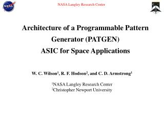 Architecture of a Programmable Pattern   Generator PATGEN   ASIC for Space Applications