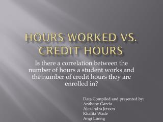 Hours Worked vs. Credit Hours
